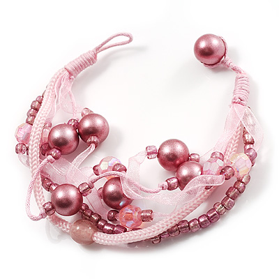 Multistrand Bead Bracelet ( Pink ) - avalaya.com :  pearls button and loop multistrand bead bracelet pink fashion jewellery