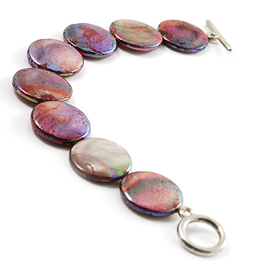 Flat Round Disc Shell Small Bracelet On Cotton Tread (Lustrous Lilac&Green)