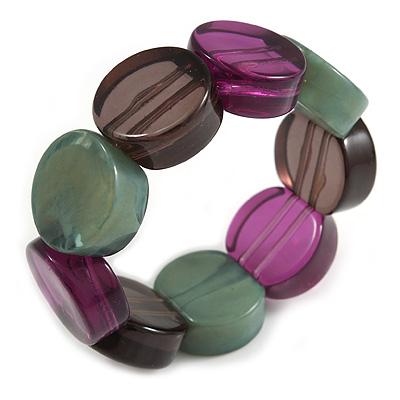 Multicoloured Stretch Resin Bracelet (Purple, Brown & Green)