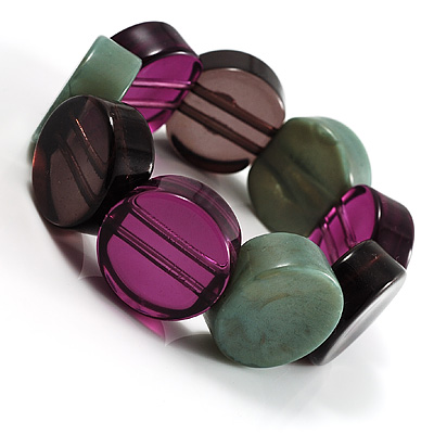 Multicoloured Stretch Resin Bracelet (Purple, Brown & Green)