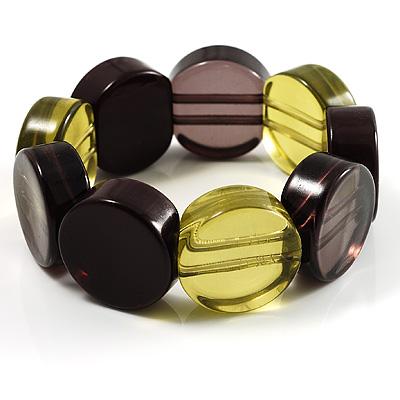 Multicoloured Stretch Resin Bracelet (Lemon, Brown & Black) - main view