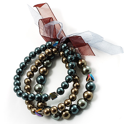 3 Strand Lustrous Faux-Pearl Flex Bracelet Set (Bronze, Coffee & Gray)