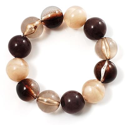 Round Beaded Flex Bracelet (Coffee, Brown, Beige & Cream)