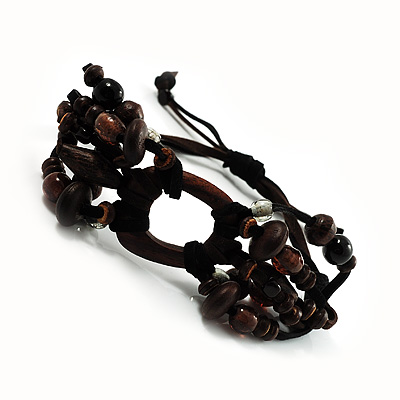 Wood Suede Cord Beaded Bracelet (Black & Brown) - main view
