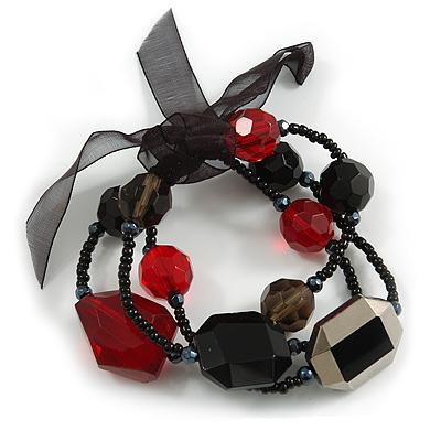 3 Strand Flex Beaded Bracelet (Black & Red)
