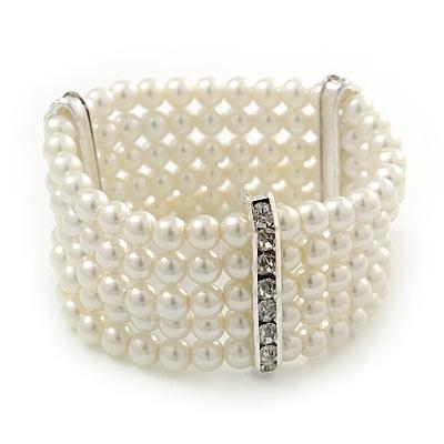5-Strand Imitation Pearl Crystal Flex Bracelet (Snow White) - main view