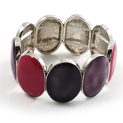 Enamel Oval Stretch Fashion Bracelet (Violet, Purple&Pink)