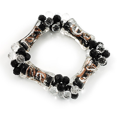 Black Candy Glass Bead Flex Bracelet