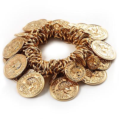 Gold Tone Coin Link Flex Bracelet - main view