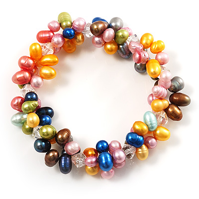 Multicoloured Cultured Freshwater Pearl Flex Bracelet
