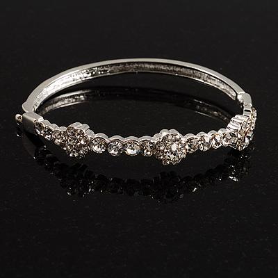 Exquisite Crystal Floral Bangle Bracelet