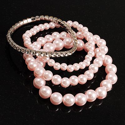 Crystal&Imitation Pearl Bangles-Set of 4 (Silver&Pale Pink) - main view