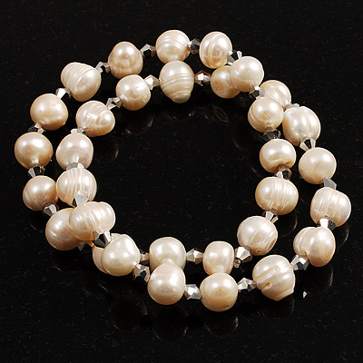 2-Strand Intertwine Freshwater Pearl Flex Bracelet Set (White) - main view