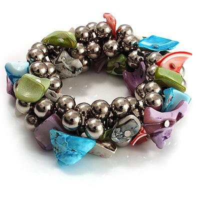 Multi-Coloured Sea Shell Flex Bracelet - main view