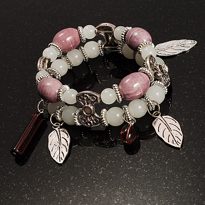 2-Strand Leaf Charm Ceramic And Resin Bead Flex Bracelet (Lavender&Milk)
