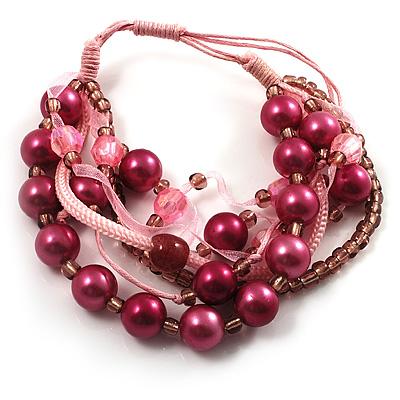Multistrand Bead Bracelet (Pale&Deep Pink)