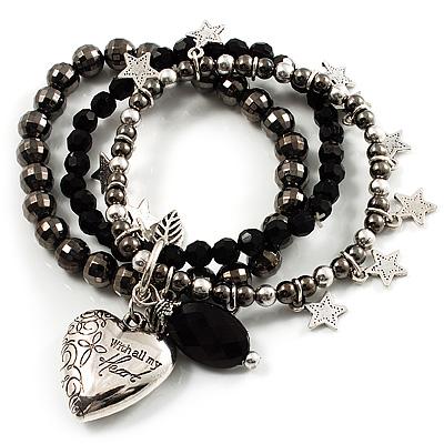 3-Strand Puffed Heart&Star Charm Flex Bead Bracelet (Black&Silver)