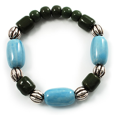 Pale Blue&Olive Green Ceramic Bead Flex Bracelet (Silver Tone) - main view