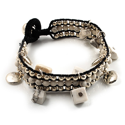 Antique White Semiprecious Stone Charm Wristband Bracelet (Silver Tone)