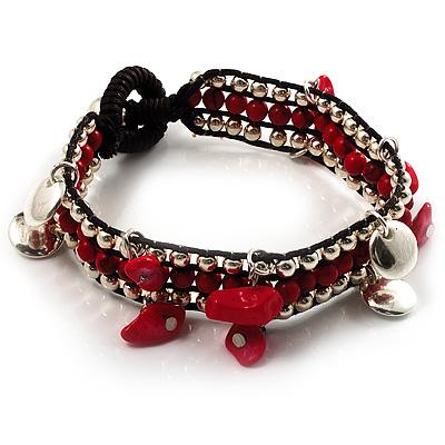 Bright Red Semiprecious Stone Charm Wristband Bracelet (Silver Tone) - main view