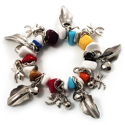 Multicoloured Semiprecious Stone Leaf&Butterfly Charm Flex Bracelet - main view