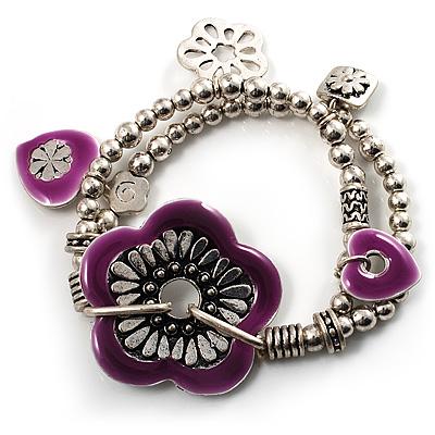 2-Strand Purple Floral Charm Bead Flex Bracelet (Antique Silver)