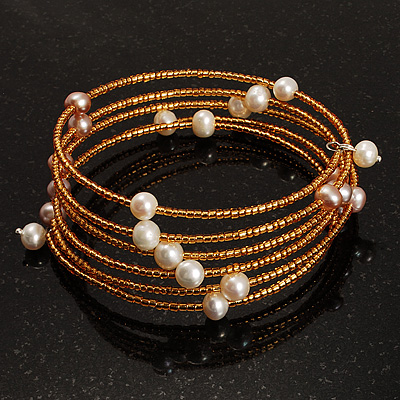 Glass Beaded Freshwater Pearl Charm Wrap Bangle Bracelet (6mm)