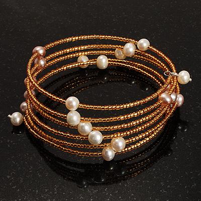 Glass Beaded Freshwater Pearl Charm Wrap Bangle Bracelet (6mm) - main view