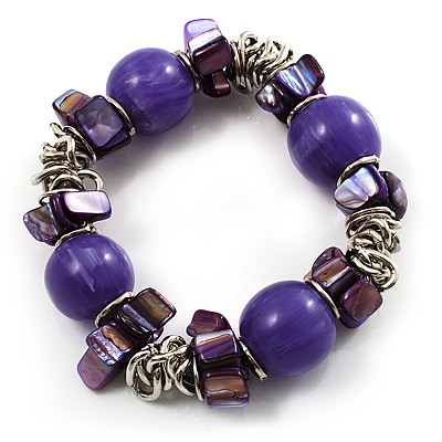 Purple Acrylic Bead, Shell & Metal Link Stretch Bracelet