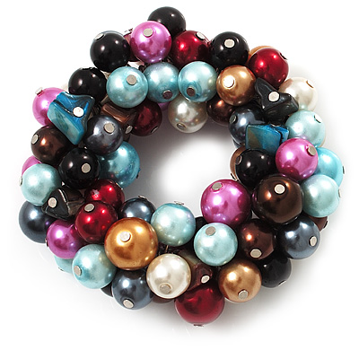 Chunky Multicoloured Simulated Glass Pearl & Shell Flex Bracelet - 17cm Length - main view
