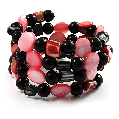 Acrylic & Shell Bead Coil Flex Bangle Bracelet (Black & Pink) - main view