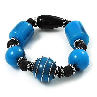 Light Blue Chunky Resin Bead Flex Bracelet -19cm Length