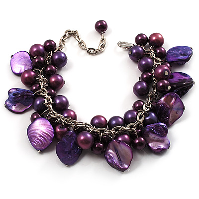 Deep Purple Simulated Pearl Bead & Shell Charm Bracelet (Silver Tone) - main view