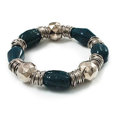 Teal Green Ceramic & Metallic Silver Acrylic Bead Flex Bracelet - 18cm Length - main view