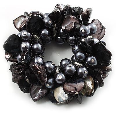 Chunky Black Shell And Bead Flex Bracelet - main view