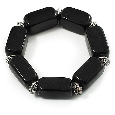 Vintage Black Ceramic Nugget Flex Bracelet (Antique Silver Metal) - 19cm Length