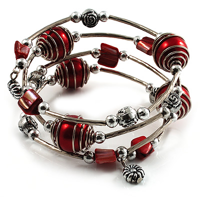 Silver-Tone Beaded Multistrand Flex Bracelet (Red) - main view