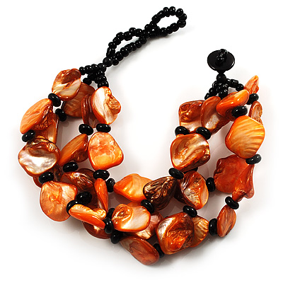 Multistrand Shell-Composite Beaded Bracelet (Black & Orange) - main view