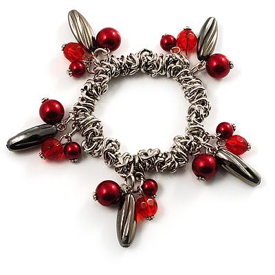 Silver Tone Link Bead Charm Flex Bracelet (Red) - main view