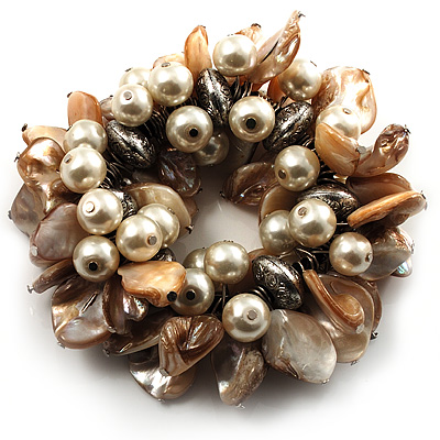 Chunky Antique White Shell And Bead Flex Bracelet - main view