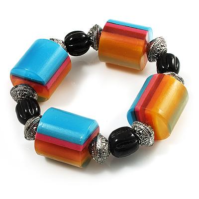 Chunky Multicoloured Resin & Ceramic Bead Flex Bracelet - 19cm Length - main view
