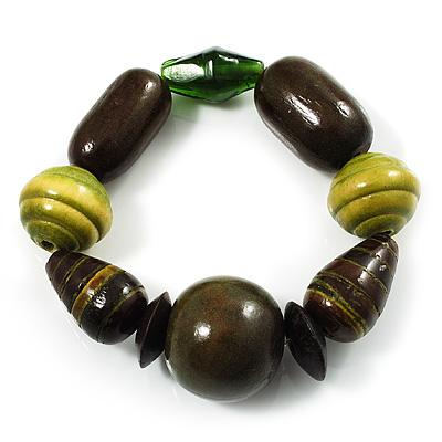 Chunky Olive Wood Bead Flex Bracelet - 18cm Length