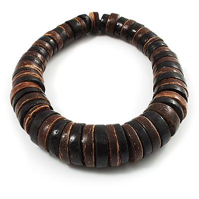 Button Shape Wood Flex Bracelet (Dark Brown & Black) - main view