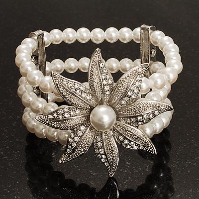 3 Strand Imitation Pearl Floral Flex Bracelet (Silver Tone) - main view