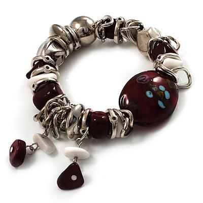 Silver Tone Burgundy & White Glass Bead Charm Flex Bracelet - main view