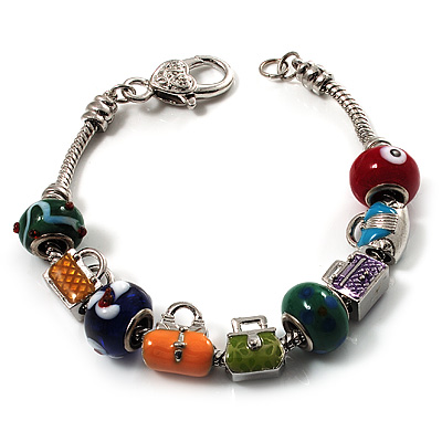 Silver Tone Lad's Charm Bracelet - 21cm Length (for larger wrists)