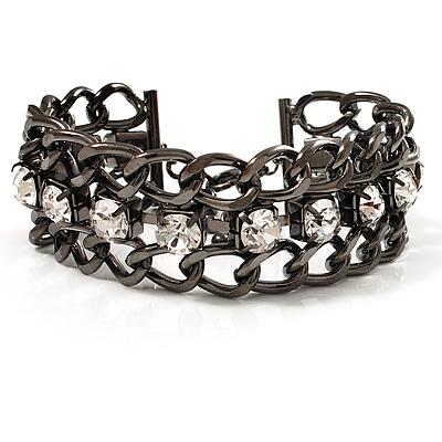 Gun Metal Crystal Chain Bracelet - 18cm Length