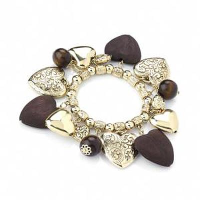Heart & Bead Gold Tone Stretch Bracelet - up to 18cm Length