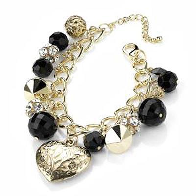 Gold Tone Heart, Bead & Crystal Ball Charm Bracelet - 18cm Length