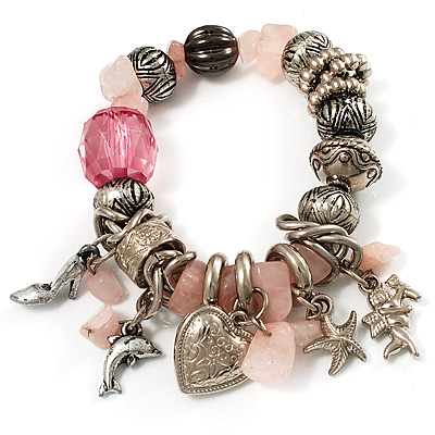 Vintage Beaded Charm Flex Bracelet (Antique Silver & Pale Pink)